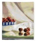 Cherry Still Life Fleece Blanket
