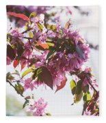 Cherry Tree Flowers Fleece Blanket