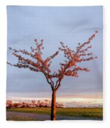 Cherry Tree Standing Alone In A Park, Lit By The Light  Fleece Blanket