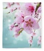 Cherry Tree Twig On Blue Fleece Blanket