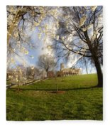 Cherry Trees In Bloom In Nashville Fleece Blanket