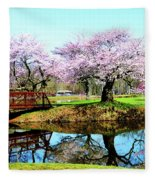 Cherry Trees In The Park Fleece Blanket