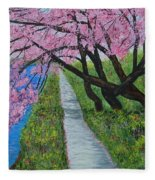 Cherry Trees- Pink Blossoms- Landscape Painting Fleece Blanket