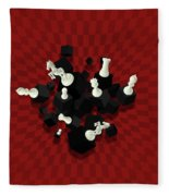 Chessboard And 3d Chess Pieces Composition On Red Fleece Blanket