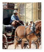 Chestnut Horses Pulling Carriage Fleece Blanket