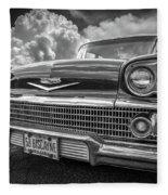 Chevrolet Biscayne 1958 In Black And White Fleece Blanket