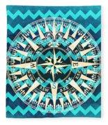Chevron Print Compass Blue Fleece Blanket