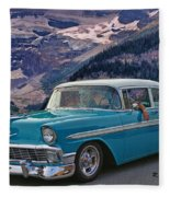Chevy At Lake Louise Fleece Blanket