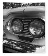 Chevy Corvair Headights And Bumper Black And White Fleece Blanket
