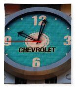 Chevy Neon Clock Fleece Blanket