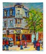 Chez Vito Rue Fairmount Landmark Architecture Beautiful Summer Scene Montreal 375 Carole Spandau Art Fleece Blanket