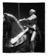 Chicago Art Institute Armored Knight And Horse Bw 01 Fleece Blanket