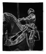 Chicago Art Institute Armored Knight And Horse Bw Pa 02 Fleece Blanket