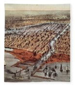 Chicago As It Was Fleece Blanket by Currier and Ives