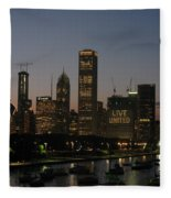 Chicago At Night Fleece Blanket