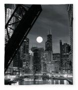 Chicago Black And White Nights Fleece Blanket