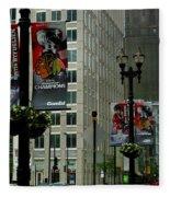 Chicago Blackhawk Flags Fleece Blanket