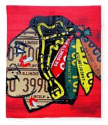 Chicago Blackhawks Hockey Team Vintage Logo Made From Old Recycled Illinois License Plates Red Fleece Blanket