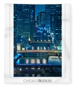 Chicago Bridges Poster Fleece Blanket