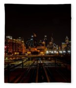 Chicago By Night Fleece Blanket