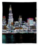 Chicago By Night Fleece Blanket