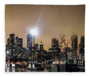 Chicago City At Night Fleece Blanket
