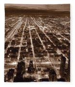 Chicago City Lights West B W Fleece Blanket