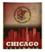 Chicago City Skyline State Flag Of Illinois Art Poster Series 012 Fleece Blanket