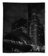 Chicago Cloud Gate Night Fleece Blanket