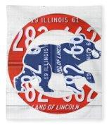 Chicago Cubs Retro Vintage Baseball Logo License Plate Art Fleece Blanket
