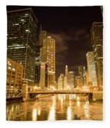 Chicago Downtown City  Night Photography Fleece Blanket