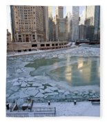 Chicago Downtown City  Night Photography Wrigley Square Fleece Blanket
