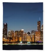 Chicago Downtown Skyline At Night Fleece Blanket