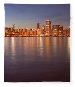 Chicago Dusk Skyline Panoramic  Fleece Blanket
