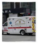 Chicago Fire Department Ems Ambulance 53 Fleece Blanket