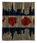 Chicago Flag Barn Door Fleece Blanket