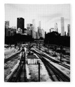Chicago Grant Park Railroad Skyline Fleece Blanket