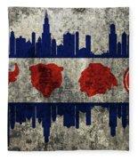 Chicago Grunge Flag Fleece Blanket