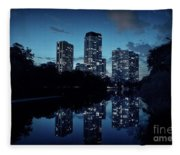 Chicago High-rise Buildings By The Lincoln Park Pond At Night Fleece Blanket