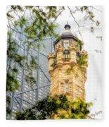 Chicago Historic Water Tower Fog Fleece Blanket