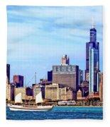 Chicago Il - Schooner Against Chicago Skyline Fleece Blanket