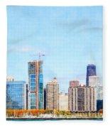 Chicago Illinois Skyline Painterly Triptych Plate Three Of Three 20180516 Fleece Blanket