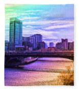 Chicago In November Chicago River South Branch Pa Rainbow 02 Fleece Blanket