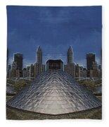Chicago Millennium Park Bp Bridge Mirror Image Fleece Blanket