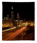 Chicago Night Skyline Fleece Blanket
