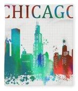 Chicago Paint Splatter Fleece Blanket