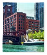 Chicago Parked By The Clark Street Bridge On The River Fleece Blanket