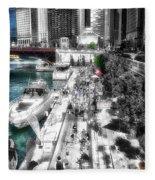 Chicago Parked On The River Walk 03 Sc Fleece Blanket