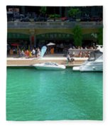 Chicago Parked On The River Walk Panorama 01 Fleece Blanket