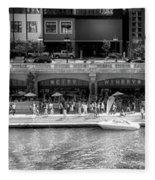 Chicago Parked On The River Walk Panorama 02 Bw Fleece Blanket